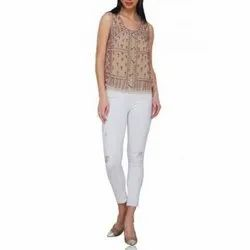 Polyester Embroidered Ladies Beige Tank Beaded Top