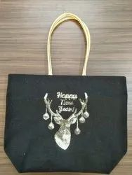 Jute Bag with Deer Seqin Work