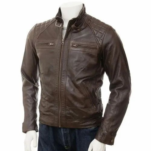 Full Sleeve Party Wear Mens Brown Leather Jacket, Size: S-XXL