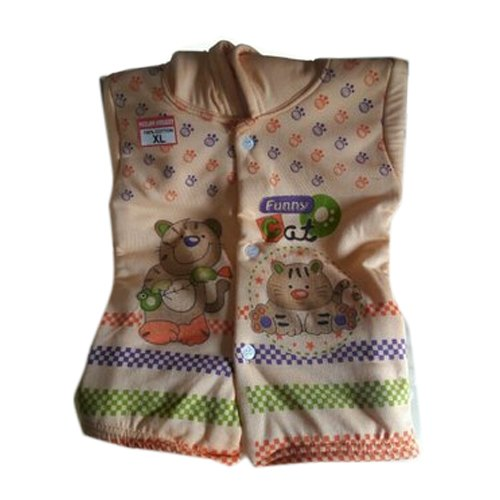 Cotton Sinker Sleeveless Hooded Printed Kids Upper, Size: M