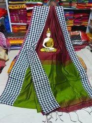 Cotton silk cheak border handloom saree