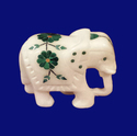 White Marble Elephant Inlay Gems Stone