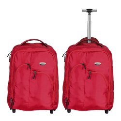 Red Polyester Trolley Bag