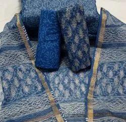 Mansi Printers Unstitched Bagru Hand Block Printed Kota Doria Suit Set, Dry clean