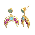 Multi Half Curvy moon Dazzling Hot Fashionable PartyWear Gemstone Gold Plated Earring
