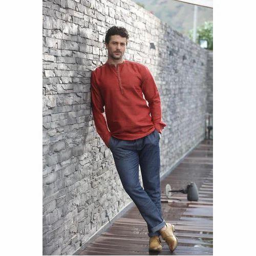 86efb1a60 Medium And Large Maroon Linen Short Kurta, Rs 800 /piece | ID ...