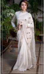 White Silk Designer Party Were Saree