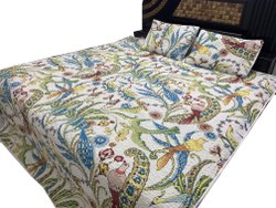 Bird Printed Quilted Bed Decor Cover With Pillow Room Decor