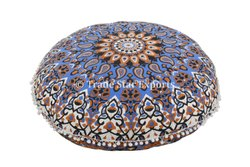 Ombre Mandala Ethnic Round Floor Pillow Cover Hand Screen Printed 100% Cotton Floor Cushion Cover