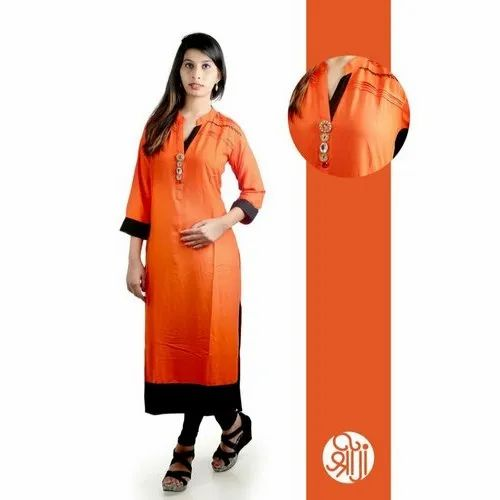Shreeji Casual Wear Ladies Designer Rayon Kurti, Machine Wash, Size: M