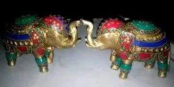 Multicolor Metal Firoja Decorative Elephant Pair, for Interior Decor
