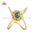 Green Emerald Gemstone Gold Plated Designer 925 Silver Ring Jewelry