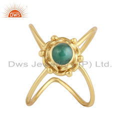 Natural Emerald Gemstone Gold Plated Designer 925 Silver Ring Jewelry
