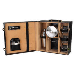 Black - 03 with Ice Bucket Travel Mini Bar Set