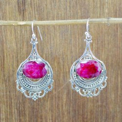 925 Sterling Silver Jewelry Ruby Gemstone Stone Earring