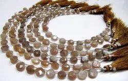 Natural Chocolate Moonstone Heart Shape Briolette 8mm Beads Strand 8 Inches.