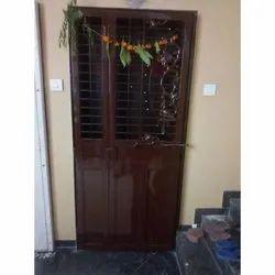Wood, Iron Exterior Dark Brown Designer Safety Door