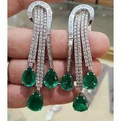 Green Stone Diamond Earring