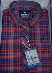 Men Cotton Check Red Shirt