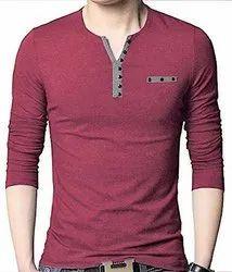 Plain Blue Full Sleeves Cotton Henley Neck T-Shirt