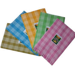 Pink And Blue And Brown Checked Cotton Towel