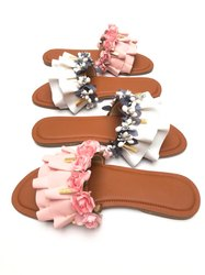 Faux Leather Flats & Sandals Floral Footwear