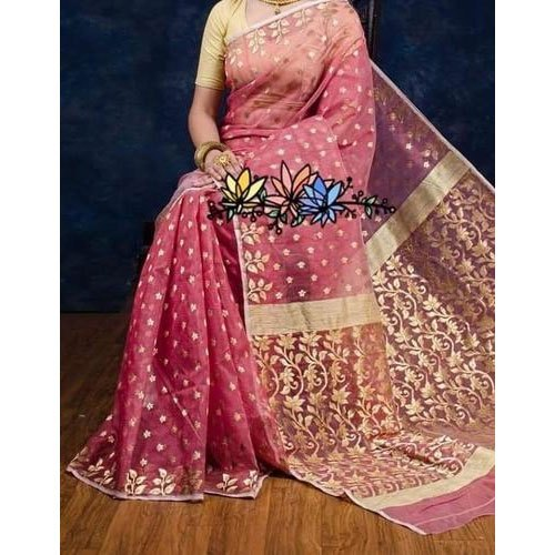 Wedding Golden Work Resham Jamdani Saree, Hand Made, 6.3 m (with blouse piece)