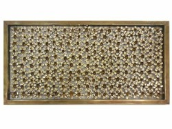 Room Divider In Brass With Leafs Patter