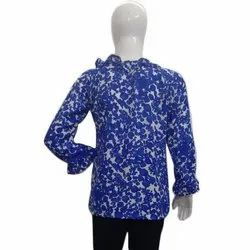 Round Neck Casual Wear Ladies Printed Cotton Top