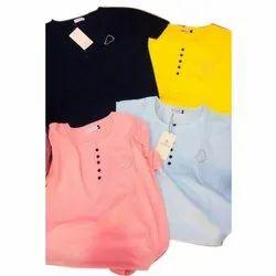 Plain Ladies Cotton Top, Size: S-XXL