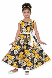 Party Wear Girls Yellow Cotton Printed Long Frock