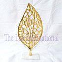 Metal Handicrafts Items Leaf Shape Sculpture Golden Finish
