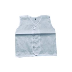 White Regular Wear New Born Baby Cotton Sleeveless Shirt