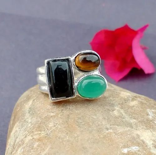 Black Onyx & Tigers Eye Ring