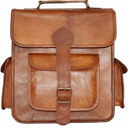 Shri Ganesha Art   Crafts Brown Three Pocket Leather Side Bag 3e2b19dca32fd