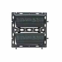 Black Square 2 Pot Vertical Plastic Gardening Flower Planter, For Outdoor, Size: 12 X 12 X 5 Inch