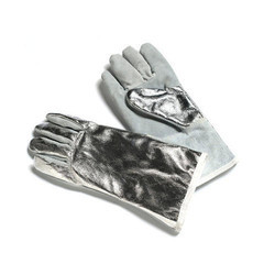Aluminum Leather Gloves