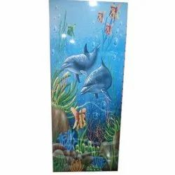 Rosewood 3D Dolphin PVC Door, for Home, Office etc