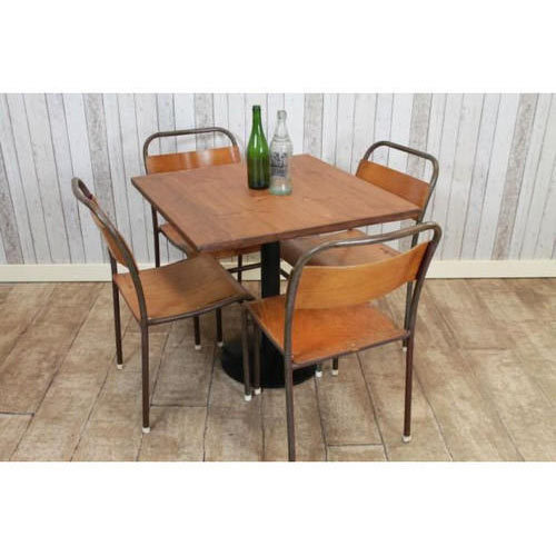 wooden cafe table and chair at rs 15000 piece cafeteria furniture