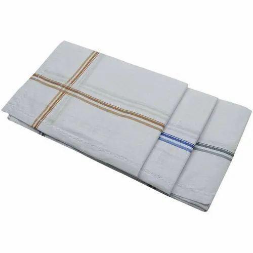 Striped Mens Cotton Handkerchief, Size: 46x46 Cm
