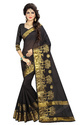 Designer Black & Beige Poly Silk Saree