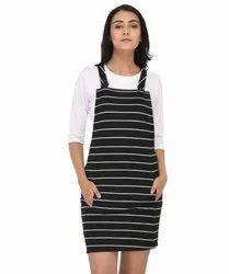 Raaika Cotton Striped Pinafore Dress