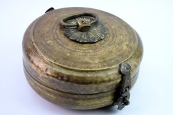Original Brass Inlay Carving Work Bread / Chapatti Box Rich Patina. G66-256