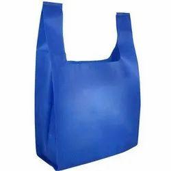 Blue Plain Non Woven U Cut Bag, For Shopping