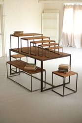 Veetax India Brown Set Of Tables And Benches