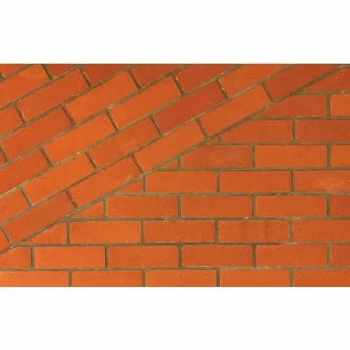 Shine Red Clay Plain Natural Wall Cladding Tiles, Size: 24 x 6 inch