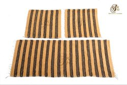 Yellow And Black Handloom Car Seat Durries