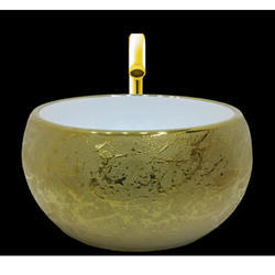 Golden Round Table Top Wash Basin
