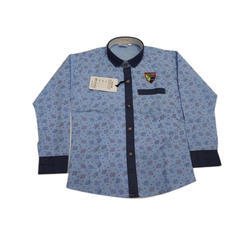 Light Blue Cotton Kids Printed Casual Shirt