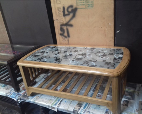 Teak Wood Table With Glass Top Center Table From Delhi